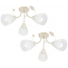 Pair of Cream and Gold 3 Light Floral Ceiling Fittings with Marbled Glass Shades