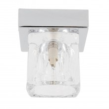 Chrome Flush Light with Ice Cube Glass Shade