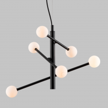Contemporary 6 Light Black Retro Pendant with Opal Globe Shades
