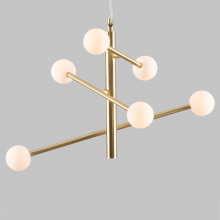 Contemporary 6 Light Satin Brass Retro Pendant with Opal Globe Shades