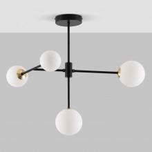 Contemporary 4 Light Black Retro Semi Flush with Opal Globe Shades