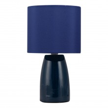 Clive - Navy Blue Ceramic 25cm Table Lamp / Bedside Light with Matching Shade