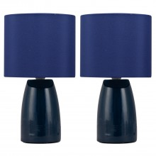 Set of 2 Clive - Navy Blue Ceramic 25cm Table Lamp / Bedside Lights with Matching Shades