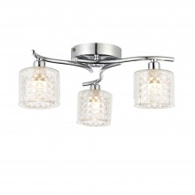 3 Light Chrome & Clear Textured Glass Semi Flush
