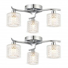 Pair of 3 Light Chrome & Clear Textured Glass Semi Flush