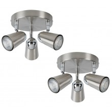 Pair of Brushed Chrome with Chrome Detail 3 Way Round Spotlight Plates