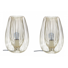 Pair of Satin Gold Wire 60W E27 Table Lamps
