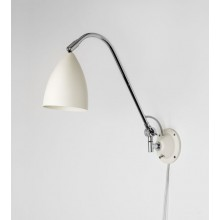 Cream & Polished Chrome Adjustable Wall Lamp With In-Line Switch