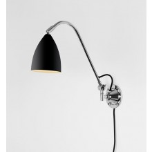Black & Polished Chrome Adjustable Wall Lamp With In-Line Switch