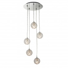Chrome 5 Light Cluster Ceiling Pendant with Jewelled Shades