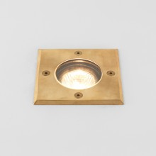 Square Natural Brass IP65 Coastal Recessed Ground Light