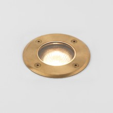 Round Natural Brass IP65 Coastal Recessed Ground Light