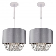 Set of 2 Grey Fabric Ceiling Adjustable Flush With Beaded Diffuser