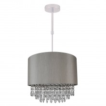 Large 350mm Silver Adjustable Flush Shade with Silver Inner and Clear Droplets