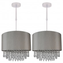 Set of 2 Large 350mm Silver Adjustable Flush Shade with Silver Inner and Clear Droplets