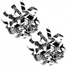Pair of Easy Fit Chrome Finish Ribbon Swirl Ceiling Shades