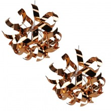 Pair of Easy Fit Copper and Chrome Finish Ribbon Swirl Ceiling Shades