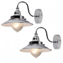 Pair of Chrome Fisherman's Lantern Wall Lights