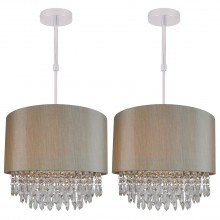 Set of 2 Large 350mm Soft Gold Ceiling Adjustable Flush Shade with Matching Inner and Clear Droplets