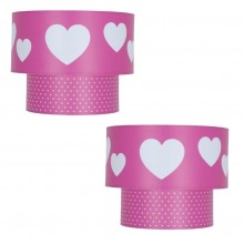 Pair of Kids Pink Heart Design 2 Tier Easy Fit Ceiling Shades