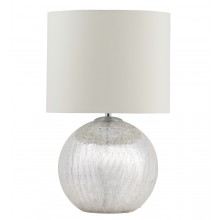 Cortez Chrome Crackle Glass Table Lamp with Cream Shade