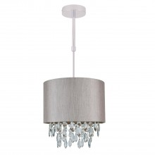 Silver Grey 250mm Ceiling Adjustable Flush Shade with Silver Inner and Clear Droplets