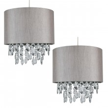 Pair of Silver Grey 250mm Easy Fit Shade with Silver Inner and Clear Dropletss