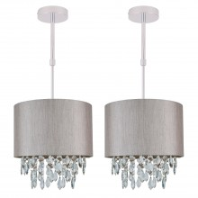 Set of 2 Silver Grey 250mm Ceiling Adjustable Flush Shade with Silver Inner and Clear Droplets