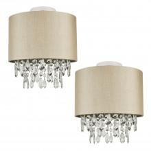Set of 2 Pale Gold 250mm Ceiling Flush Shade with Matching Inner and Clear Droplets