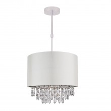 300mm Cream Faux Silk Ceiling Adjustable Flush Shade with Chrome Inner and Clear Droplets