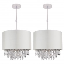 Set of 2 300mm Cream Faux Silk Ceiling Adjustable Flush Shade with Chrome Inner and Clear Droplets