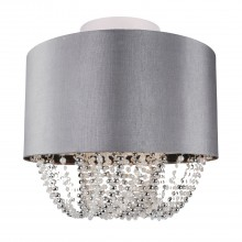 Modern Large 40cm Grey Faux Silk Jewel Ceiling Light Shade Flush