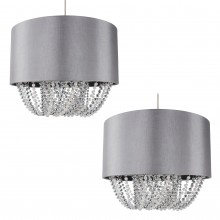 Pair of Large 40cm Grey Fabric Non Electric Pendants With Beaded Diffusers