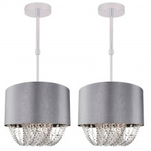 Set of 2 Large 40cm Grey Fabric Ceiling Adjustable Flush With Beaded Diffuser