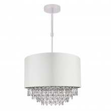 400mm Cream Faux Silk Ceiling Adjustable Flush Shade with Chrome Inner and Clear Droplets