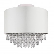 400mm Cream Faux Silk Ceiling Flush Shade with Chrome Inner and Clear Droplets