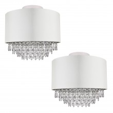 Set of 2 400mm Cream Faux Silk Ceiling Flush Shade with Chrome Inner and Clear Droplets