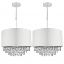 Set of 2 400mm Cream Faux Silk Ceiling Adjustable Flush Shade with Chrome Inner and Clear Droplets