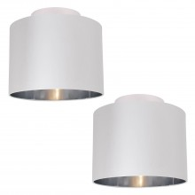 Set of 2 White Faux Silk 30cm Drum Light Ceiling Flush Shade with Chrome Inner