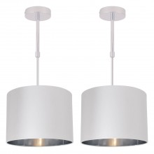 Set of 2 White Faux Silk 30cm Drum Light Ceiling Adjustable Flush Shade with Chrome Inner