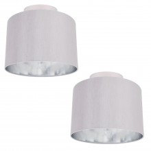 Set of 2 Grey Faux Silk 30cm Drum Light Ceiling Flush Shade with Chrome Inner