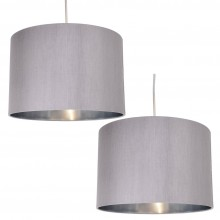 Pair of Grey Faux Silk 30cm Drum Light Shade with Chrome Inners