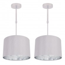 Set of 2 Grey Faux Silk 30cm Drum Light Ceiling Adjustable Flush Shade with Chrome Inner