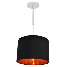 Black Faux Silk 30cm Drum Light Ceiling Adjustable Flush Shade with Copper Inner