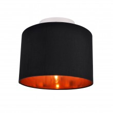 Black Faux Silk 30cm Drum Light Ceiling Flush Shade with Copper Inner
