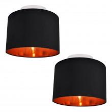 Set of 2 Black Faux Silk 30cm Drum Light Ceiling Flush Shade with Copper Inner