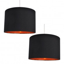 Pair of Black Faux Silk 30cm Drum Light Shade with Copper Inner