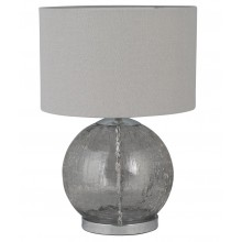 Howe - Crackle Glass 41cm Lamp with Grey Linen Shade