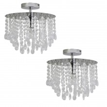 Pair of Polished Chrome & Acrylic Crystal Flush Ceiling Light Chandelier Fittings