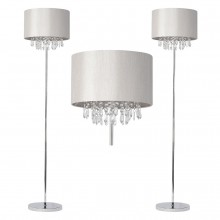 Pair of Silver Grey Faux Silk Jewelled Floor Lamps
